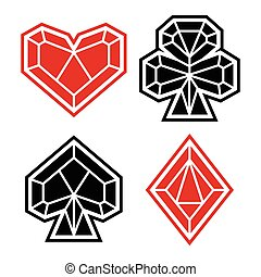 Playing card suits, icon, symbol set. Polygonal style