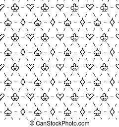 Playing card suits, seamless pattern background