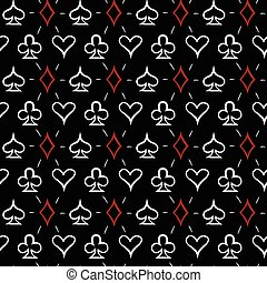 Playing card suits, seamless pattern background - Playing...