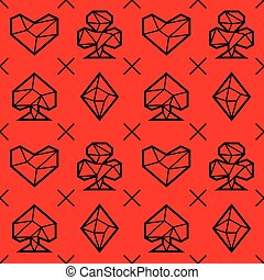 Playing card suits, signs, seamless pattern. Triangle style