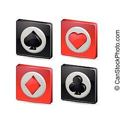 Playing card symbols - Suit playing card symbols on white...