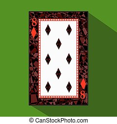 playing card. the icon picture is easy. DIAMONT EIGHT 8 about dark region boundary. a vector illustration on green background. application appointment for website, press, t-shirt, fabric, interior, registration, design.TO PLAY POKER