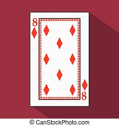 playing card. the icon picture is easy. DIAMONT EIGHT 8 with white a basis substrate. vector illustration on red background. application appointment for website, press, t-shirt, fabric, interior, registration, design.TO PLAY POKER
