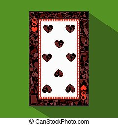 playing card. the icon picture is easy. HEART EIGHT 8 about dark region boundary. a vector illustration on green background. application appointment for website, press, t-shirt, fabric, interior, registration, design.