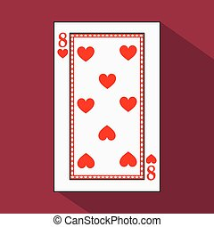 playing card. the icon picture is easy. HEART EIGHT 8 with white a basis substrate. vector illustration on red background. application appointment for website, press, t-shirt, fabric, interior, registration, design.TO PLAY POKER