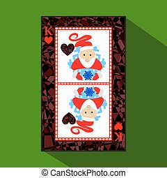 playing card. the icon picture is easy. HEART KING NEW YEAR SANTA CLAUS. CHRISTMAS SUBJECT. about dark region boundary. a vector illustration on green background. application appointment for website, press, t-shirt, fabric, interior, registration, design.