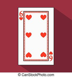 playing card. the icon picture is easy. HEART SIX 6 with white a basis substrate. vector illustration on red background. application appointment for website, press, t-shirt, fabric, interior, registration, design.TO PLAY POKER