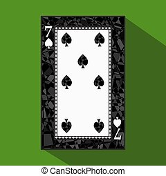 playing card. the icon picture is easy. peak spide SEVEN 7 about dark region boundary. a vector illustration on green background. application appointment for website, press, t-shirt, fabric, interior, registration, design.