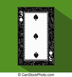 playing card. the icon picture is easy. peak spide THREE 3 about dark region boundary. a vector illustration on green background. application appointment for website, press, t-shirt, fabric, interior, registration, design. Clip-Art