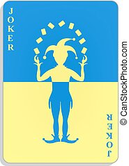 Playing card with Joker in blue and yellow design