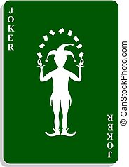 Playing card with Joker in green design with shadow