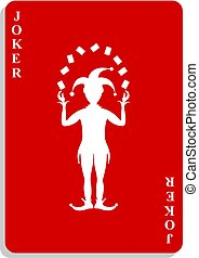 Playing card with Joker in red design with shadow