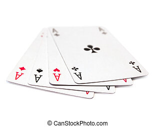 Playing cards, aces isolated on white background