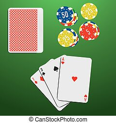Playing cards and casino chips on a green gambling table. Blackjack game combination.