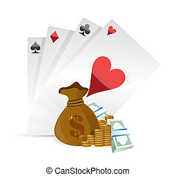 playing cards and money illustration