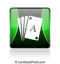 playing cards black and green square web glossy icon