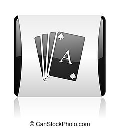 playing cards black and white square web glossy icon