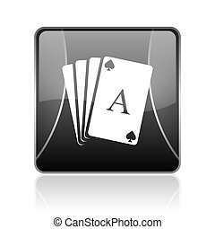 playing cards black square web glossy icon