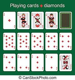 Playing cards. Diamonds