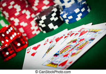 Playing Cards, dice and Poker chips