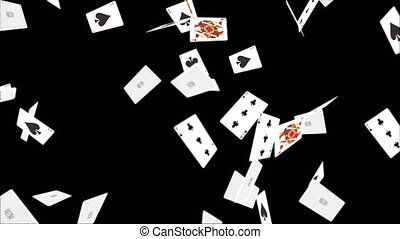 Playing Cards Flying Loop Alpha Channel Slow motion animation