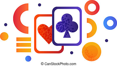 Playing cards, gambling element vector Illustration on a white background