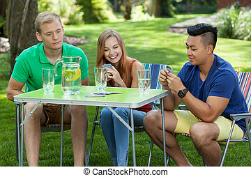 Playing cards in a garden
