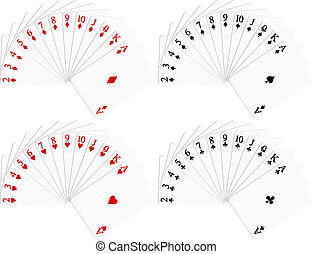 Playing cards in red and black colour (diamonds, spades, hearts, clubs)