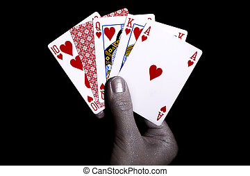 Playing cards in the silver male hand