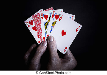 Playing cards in the silver male