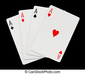 Playing cards - isolated on black background