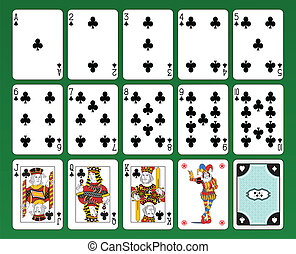 Playing cards of Clubs - Set of playing cards on green...