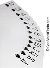 playing cards of colour of Spade isolated on white background, deal on increase, Focus on an as