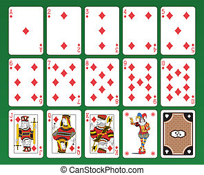 Playing cards of Diamonds - Set of playing cards on green...