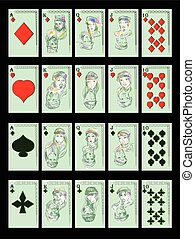 playing cards on black