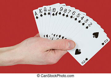 Playing cards on hands