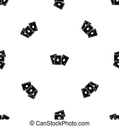 Playing cards pattern seamless black
