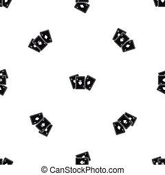 Playing cards pattern seamless black