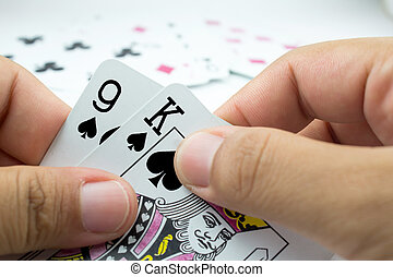 playing cards on write background