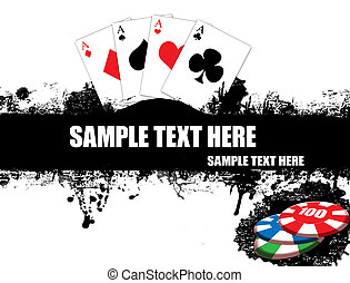 grunge poster with four aces playing cards and chips, vector illustration