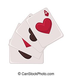 Playing cards raw of all suits isolated illustration - Aces...