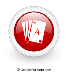 playing cards red circle glossy web icon on white background