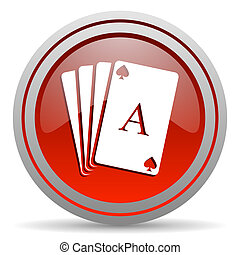 playing cards red glossy icon on white background
