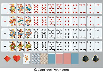 Playing cards set. Poker cards full set.