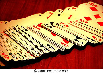 playing cards spread out