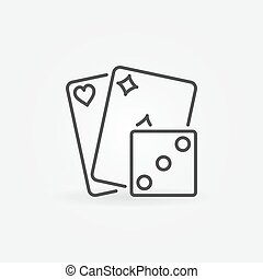 Playing cards with dice icon