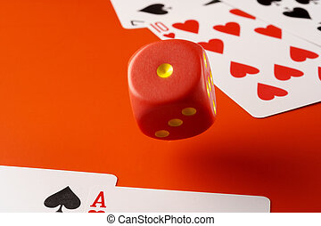 Playing cards with red dice. Casino and gambling concept