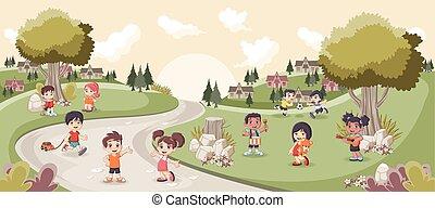 playing., carino, bambini, parco, cartone animato