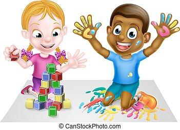 Playing Cartoon Boy and Girl - Cartoon boy and girl playing...