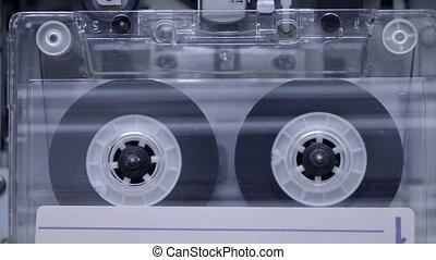 playing cassette background - vintage transparent cassette...